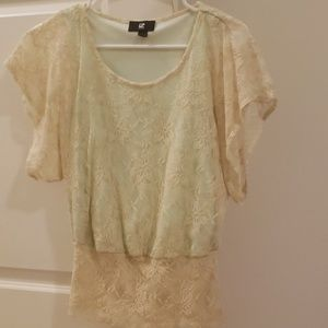 Cream Lace Top with Mint Underlay
